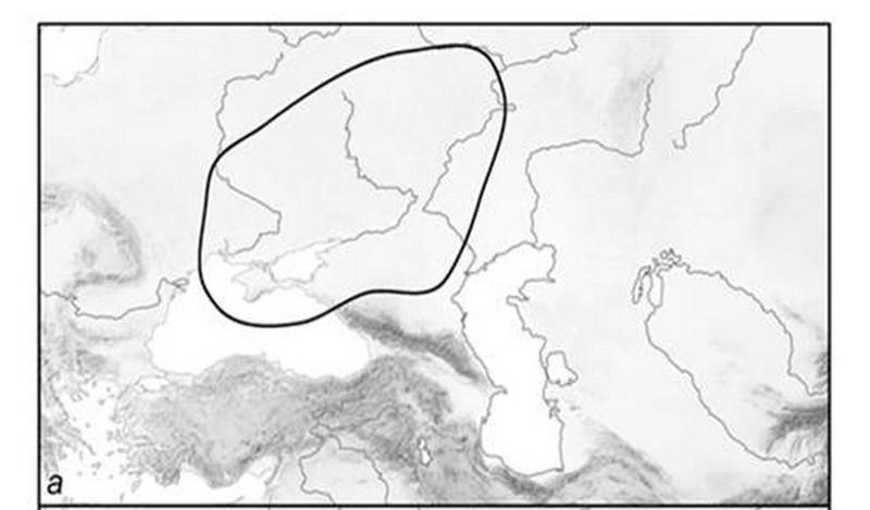 Причерноморский равнинный ареал - на территории России степная зона и лесостепная подзона зоны широколиственных лесов (по Ахметова, Фролов, 2014)