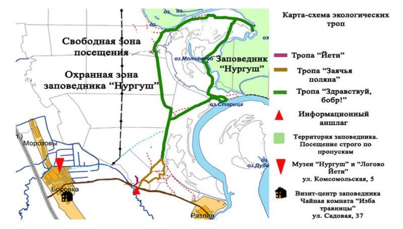 Карта-схема экологических троп