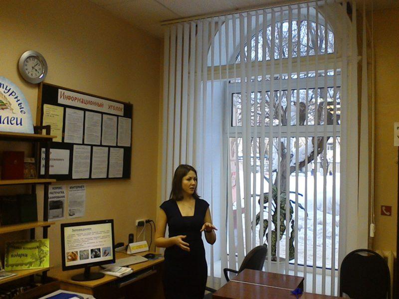 М. Н. Владыкина проводит лекию о заповеднике. Фото Е. А. Чарушниковой