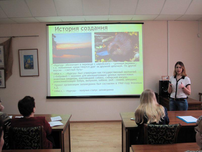 М. Н. Владыкина рассказывает о заповеднике. Фото Е. А. Чемодановой