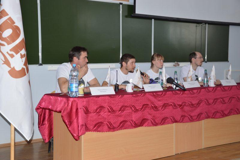 Евгений Сыркин  и представители Заповедного пояса на пресс-конференции. Фото Е.П. Лачоха